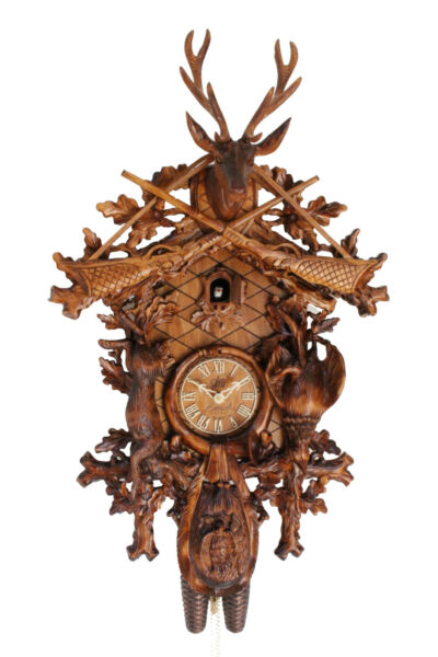 cuckoo clock german black forest 8 day original  hunter wood painted new