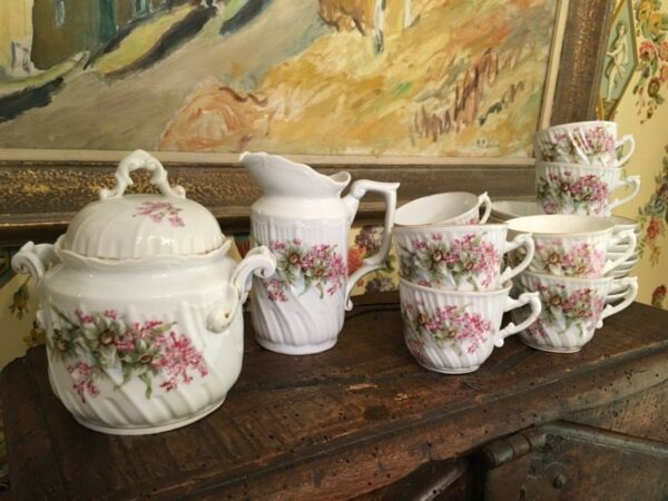 French White Porcelain Coffee Tea Set Lovely Floral Design Set of 19 pieces