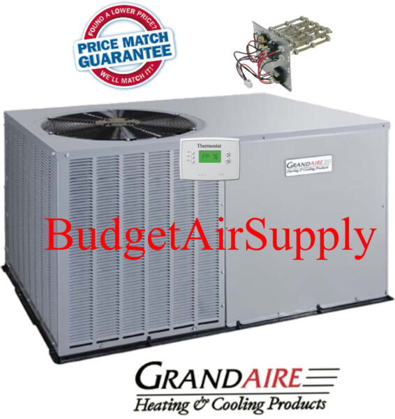 3 Ton 14 Seer ICP GrandAire Model A C Package unit Heat strip Tstat $2375.00