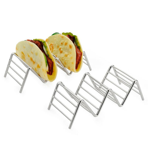 Taco Holder Stainless Steel Taco Stand Mexican Food Rack Shells 1-4 Slots RS