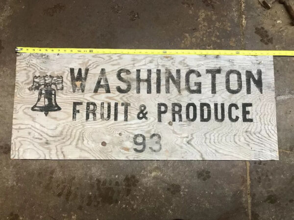 "Fruit Crate Sign Washington Fruit & Produce 16""x41"" Weathered Wood"