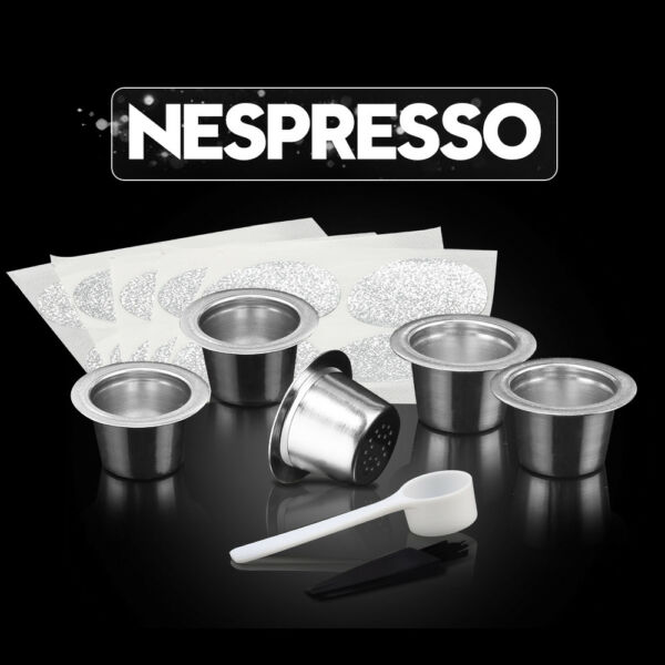 BRBHOM 5 Stainless Steel Refillable Reusable Nespresso Capsules + 100 Stickers