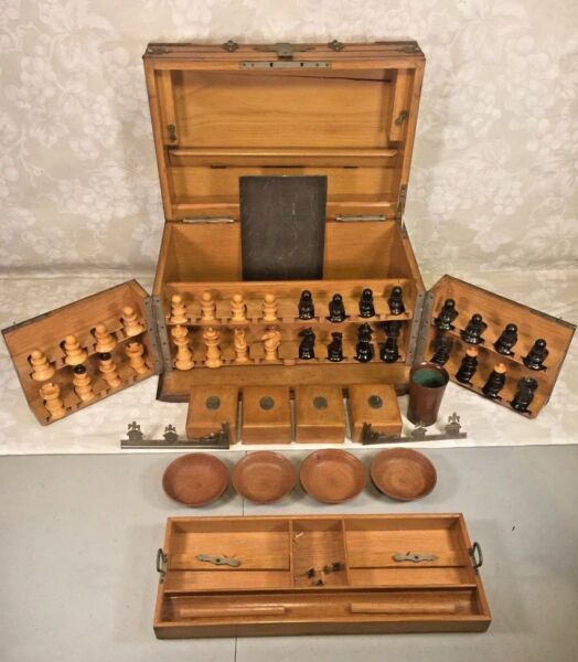 Vintage Wood Game Box with Brass Banding Hand Made Chess Checker and Other Piec