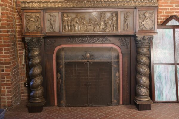 Early Spanish Revival Carved California Fireplace Mantle circa 1915 By A. Aguila