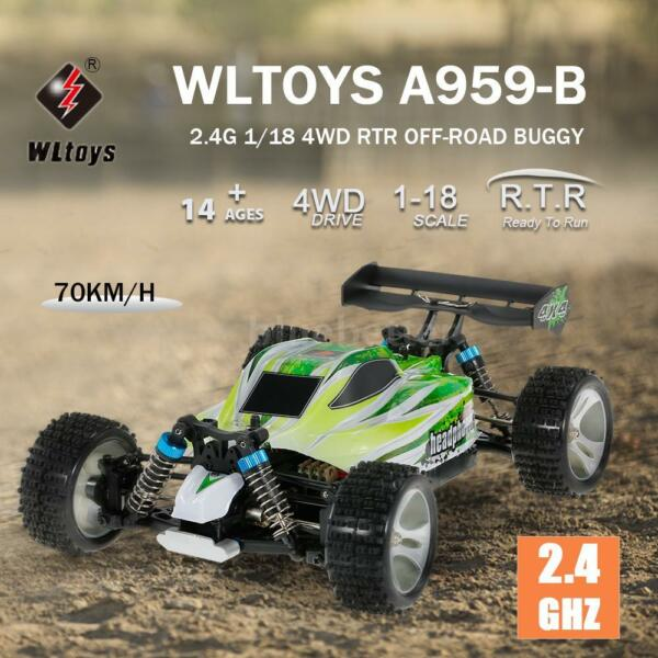 WLtoys A959-B 2.4G 1/18 4WD 70KM/h High Speed Electric RTR Off-road RC Car Toys