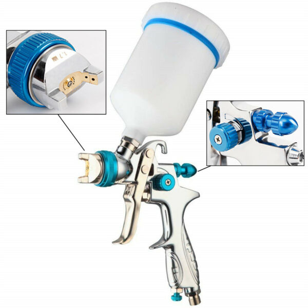 Low Pressure HVLP Car Paint Feed Spray Gun 1.4mm Nozzle + 600ml Pot Lacquer Tool