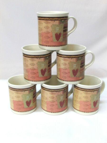 Set of 6 Pfaltzgraff Holiday Spice Coffee Tea Mug Cup Hearts Christmas Tree Rare