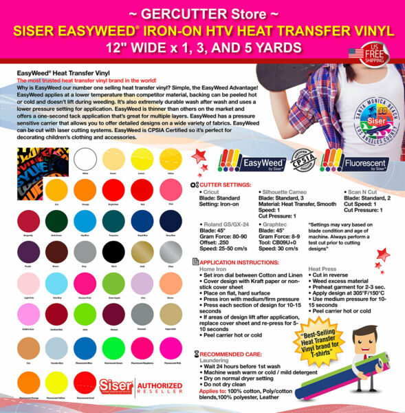 Siser easyweed iron-on htv heat transfer vinyl 12