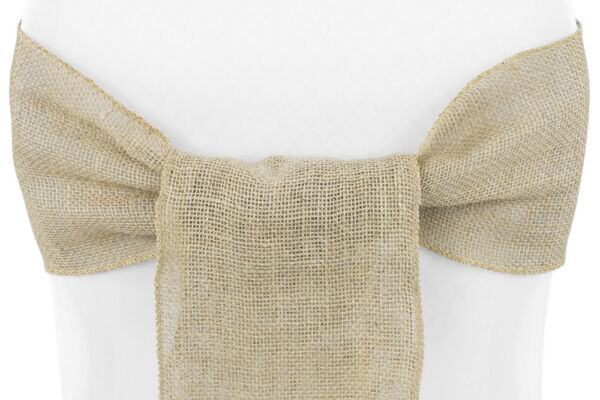 50 Pc Natural Burlap Chair Bow Sashes Natural Jute Country Vintage for wedding