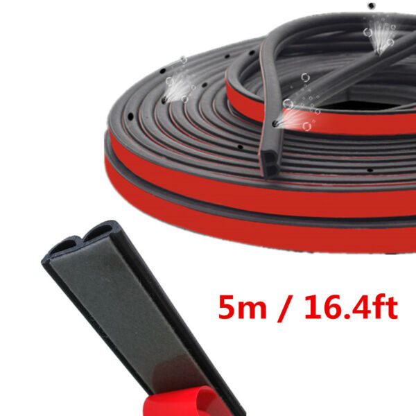 B Shaped Noise Cooling Air Insulation Seal Strip Car Sealing Accessories w/ Hole