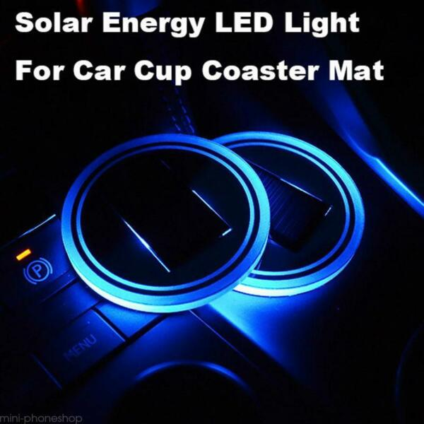 Pair Solar Cup Holder Bottom Pad LED Light Atmosphere Lamp for Honda Accessories