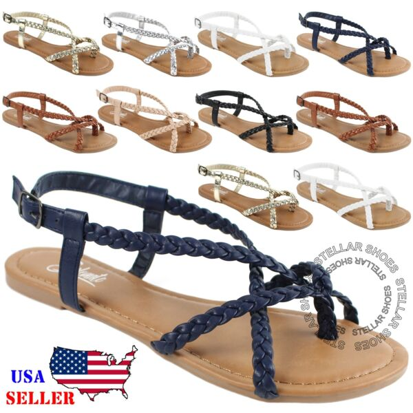 New Women's Strappy Roman Gladiator Sandals Flats Crossover Shoes