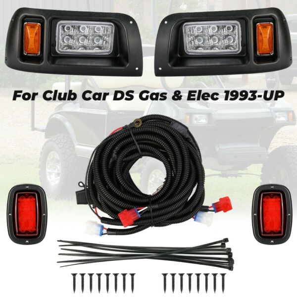 For Club Car DS Golf Cart LED Headlight & Tail Light Kit 1993-UP Gas and Elec
