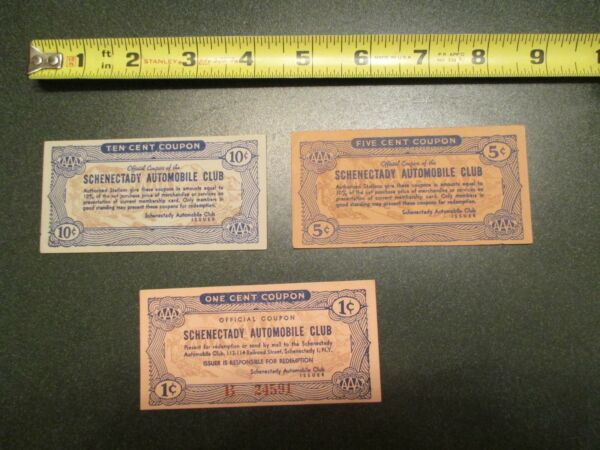 3 AAA Auto Automobile Club City Schenectady New York Coupons 1 5 10 cent