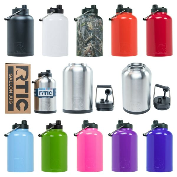 RTIC One or Half Gallon Stainless Steel Insulated Water Bottle  Jug Rambler