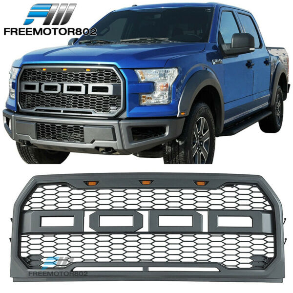 Fits 15-17 Ford F150 Pickup 4Dr Front Bumper Hood Mesh Grille ABS Raptor Style