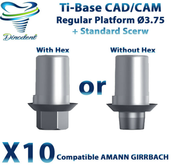 X10 Dental Implant AMANN GIRRBACH ® Ti-Base CADCAM For Ø 3.75 Platform + Screw