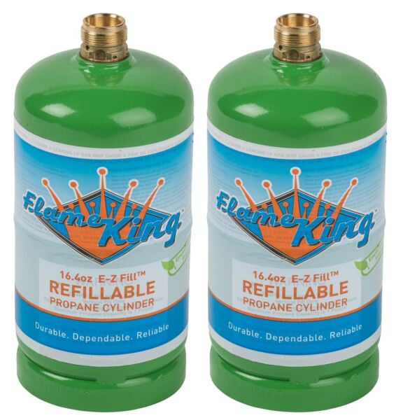 2-Pack 1lb Refillable Camping Propane Tank Cylinder 16.4 oz Bottle Ships Empty