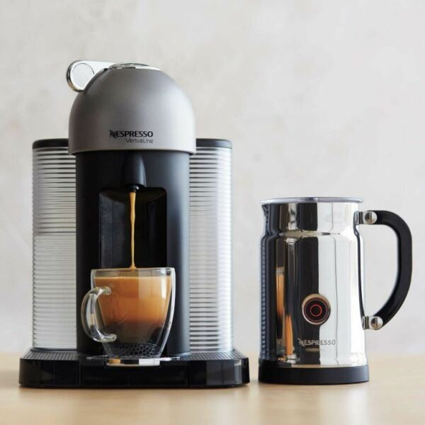 Nespresso VertuoLine and Aeroccino Plus (Milk Frother) color Chrome