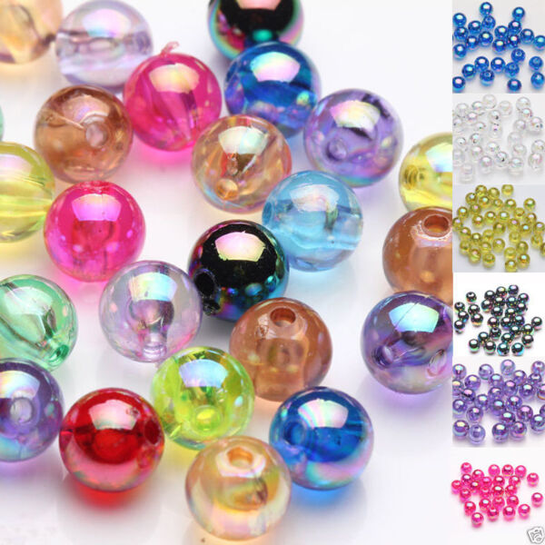 50100Pc Craft Acrylic Plated AB Round Loose Spacer Beads Jewelry Making DIY 8MM