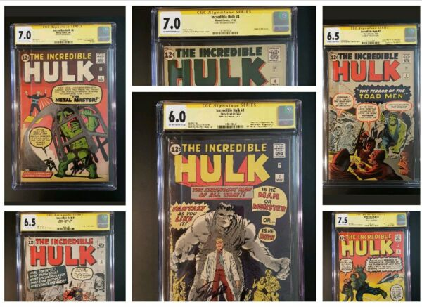 INCREDIBLE HULK 1 to 6 CGC 6.0 All SIGNED SS STAN LEE 1ST AVENGERS IRON MAN 181