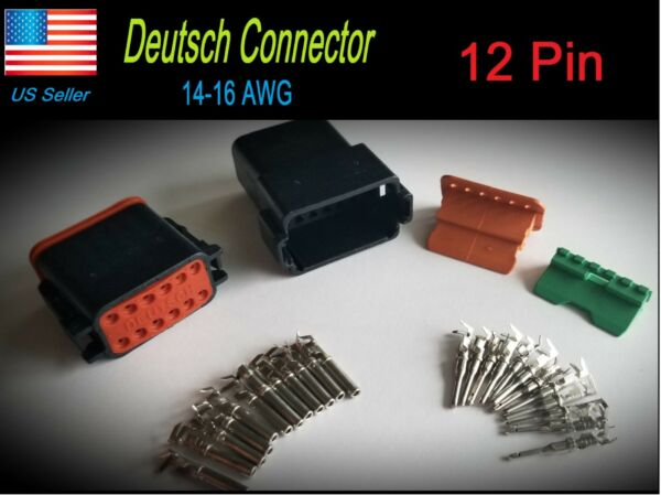 Black 12-Pin Deutsch DT06-12S DT04-12P  waterproof electrical connector Set