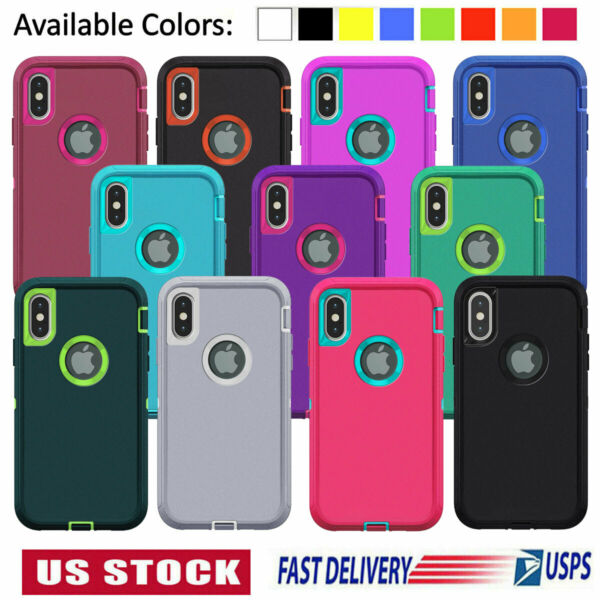 For iPhone 11 Pro 6 7 8 Plus XS Max XR X Case Heavy Duty Shockproof Rubber Cover $7.99