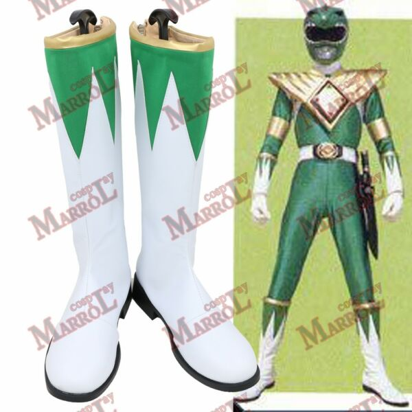 Zyurange Dragon Ranger Green Cosplay Boots Halloween Tommy Shoes New $40.00