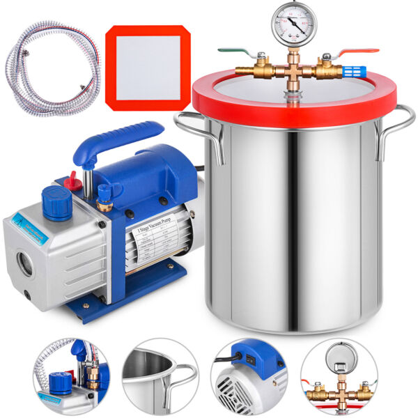 3 Gallon Vacuum Chamber and 3CFM Single Stage Pump Degassing Silicone Air AC Kit