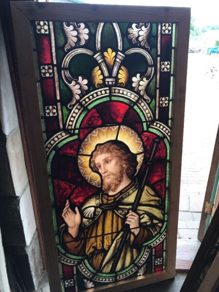 Sg 2466 antique painted and fired religious FiguralWindow Meyer Munich 29 x 58