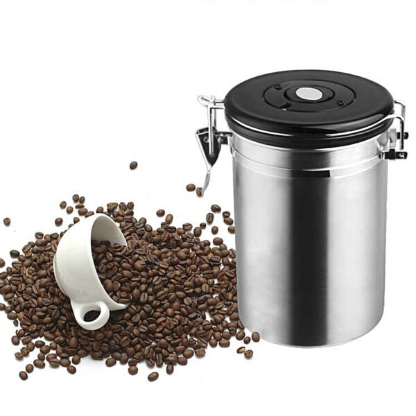 Coffee Bean Storage Container Stainless Steel Sealed Canister Sugar Tea Jar