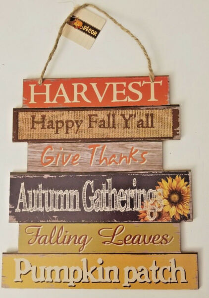 WELCOME Harvest Fall Blessings Wall Door Hanging Sign Thanksgiving Autumn Decorw