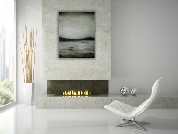Original Modern Painting Landscape Lake Black White Grey Palette Knife Anya
