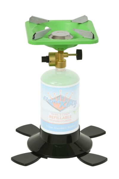Single Burner Portable Camping Stove with Base for 1lb Propane Tank Bottle Top