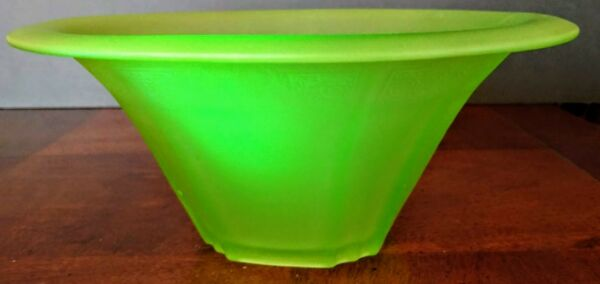 Antique 1900's Bohemian Walther & Sohne Satin Green Uranium Glass Compote Center