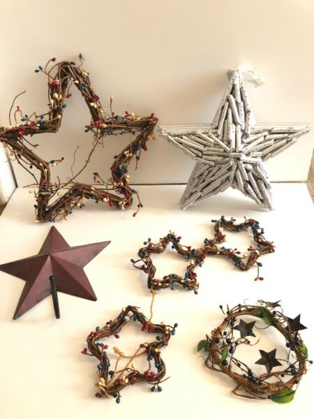 Country Star Decor Lot Wall Decor And Candle Wreath $30.00