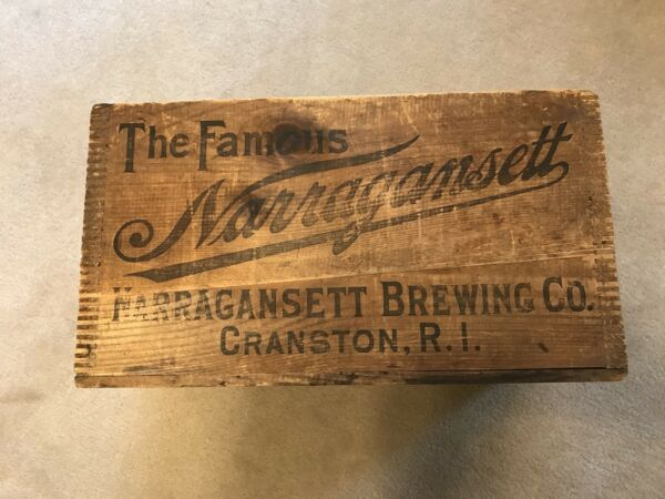VTG Antique NARRAGANSETT RI Ale Beer Wood Advertising Sign Box Crate Early 1900s