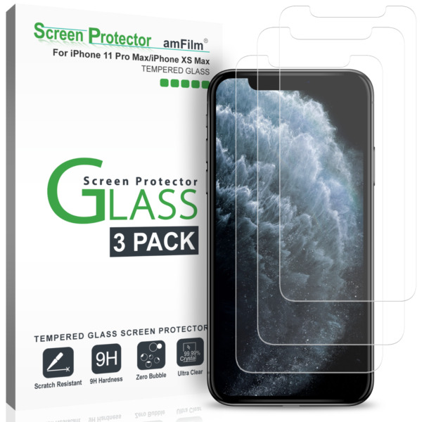iPhone XS Max amFilm Tempered Glass Screen Protector with Installation Tray