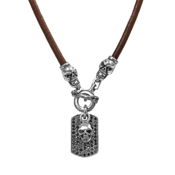 925 Sterling Silver Skull Dog Tag with Black CZ Greek Brown Leather Necklace 18quot; $265.00