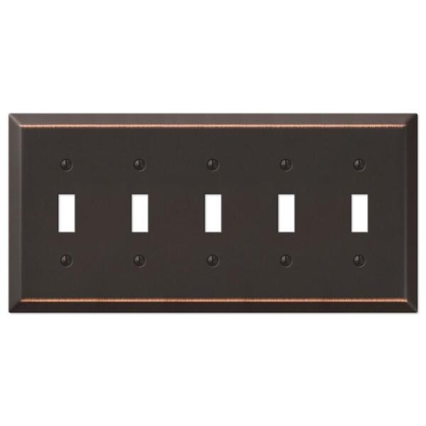 Metal Switch Plate Outlet Cover Wall Rocker Oil Rubbed Bronze Five Toggle $19.99