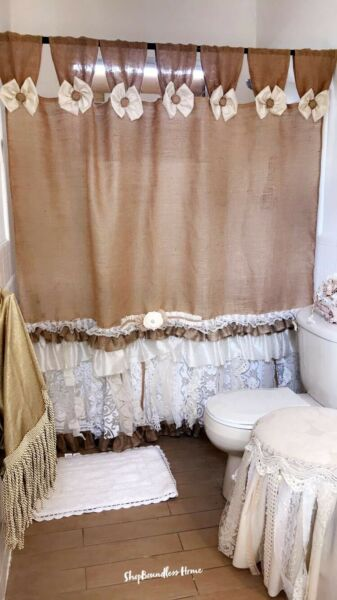 Custom French SHABBY Rustic Chic Burlap SHOWER Curtain Valance Lace Ruffle White