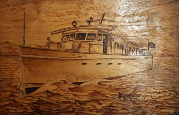 VINTAGE HAND MADE PYROGRAPHY WOOD SEASCAPE BOAT WALL DECOR PLAQUE SIGNED