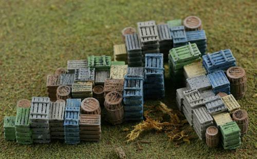 PRODUCE Crates and Wood Barrels Come Painted HO Scale