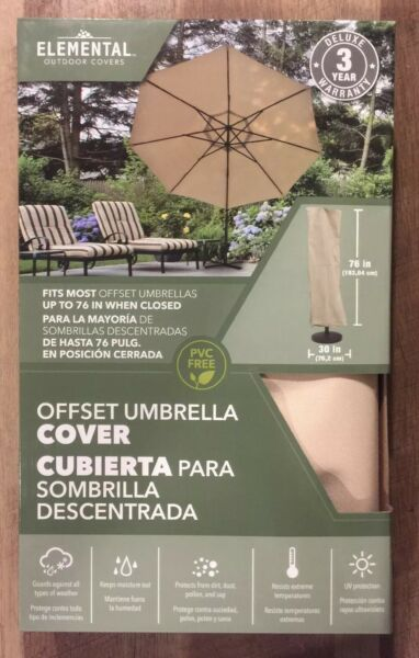 Elemental Outdoor Covers Tan Offset Umbrella Cover 76x30quot; fits 6#x27; UV Resist $9.95