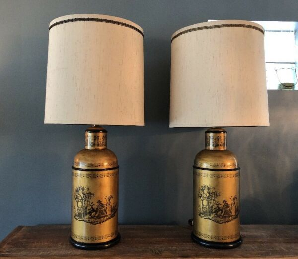 Vintage Pair Frederick COOPER CHINOISERIE Lamps Tea Caddy Cannister Asian Style