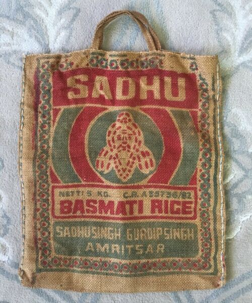 Vintage Burlap Bag with Handles SADHU Basmati Rice 5 KG Sack Advertising