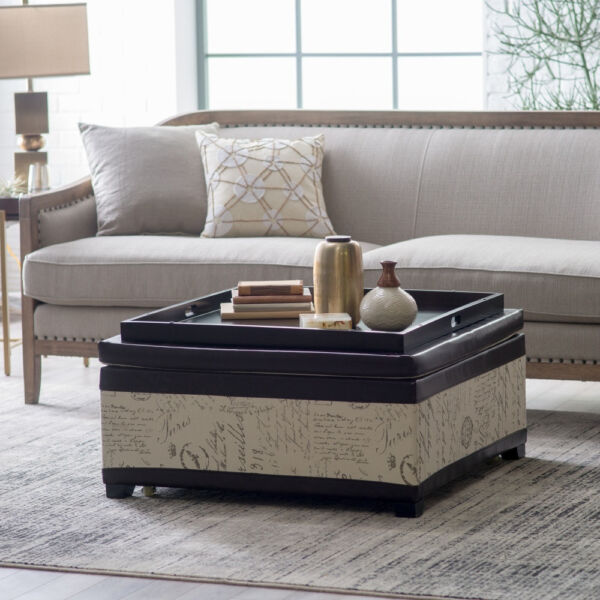 Square Linen Upholstered Coffee Table Tray Top Storage Ottoman Home Furniture