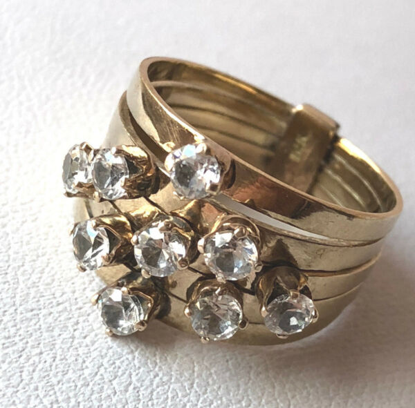 VINTAGE 14K YELLOW GOLD WHITE COLORLESS CRYSTAL QUARTZ MULTI BAND HAREM RING