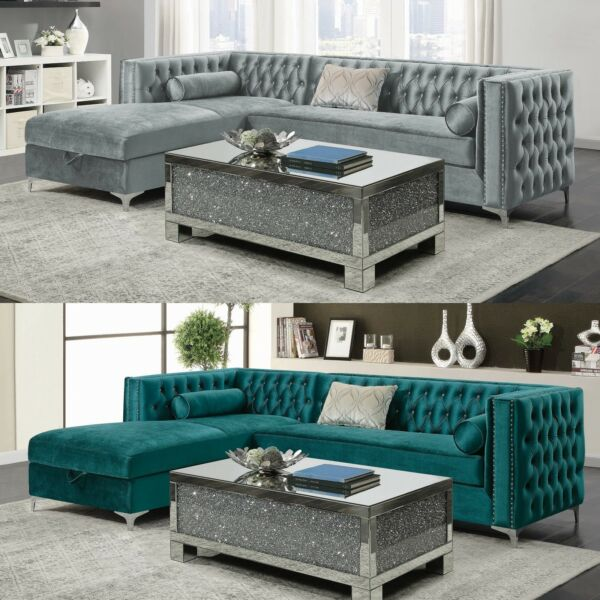 Modern Glam Fabric Upholstered Tufted Velvet Sofa Sectional with Storage Chaise $1599.99