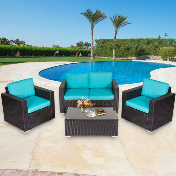 4 Pc Patio Wicker Sofa Sectional Set Couch Outdoor Furniture w Blue Cushion $379.99